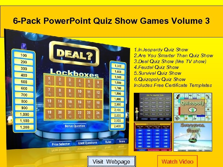 6 -Pack Power. Point Quiz Show Games Volume 3 1. In. Jeopardy Quiz Show