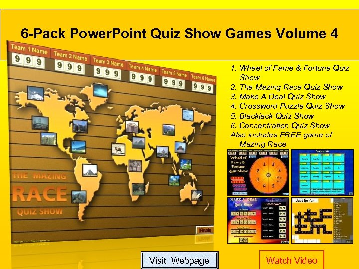 6 -Pack Power. Point Quiz Show Games Volume 4 1. Wheel of Fame &