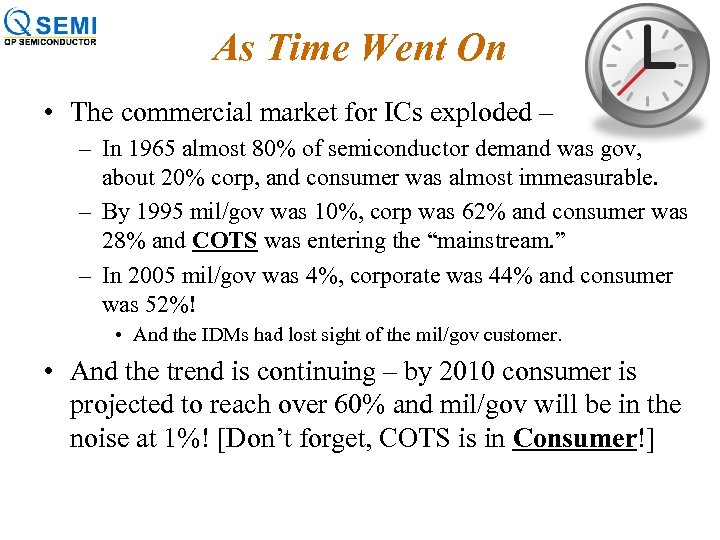 As Time Went On • The commercial market for ICs exploded – – In