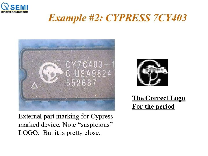 Example #2: CYPRESS 7 CY 403 The Correct Logo For the period External part