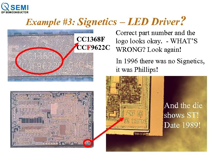 Example #3: Signetics – LED Driver? Correct part number and the CC 1368 F
