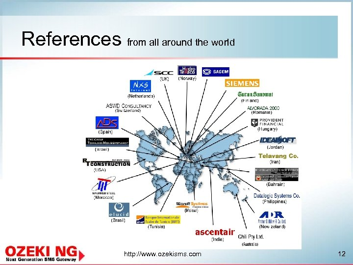 References from all around the world http: //www. ozekisms. com 12