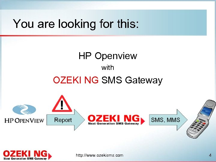 You are looking for this: HP Openview with OZEKI NG SMS Gateway http: //www.