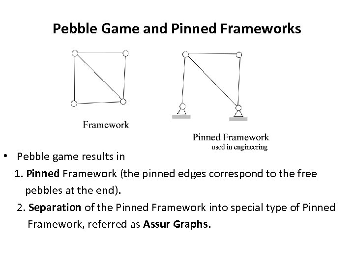 Pebble Game and Pinned Frameworks • Pebble game results in 1. Pinned Framework (the