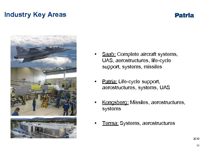 Industry Key Areas • Saab: Complete aircraft systems, UAS, aerostructures, life-cycle support, systems, missiles