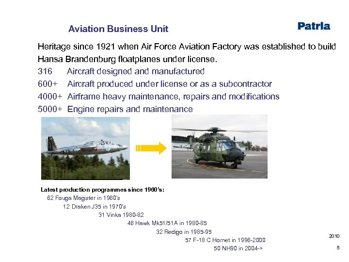 Aviation Business Unit Heritage since 1921 when Air Force Aviation Factory was established to