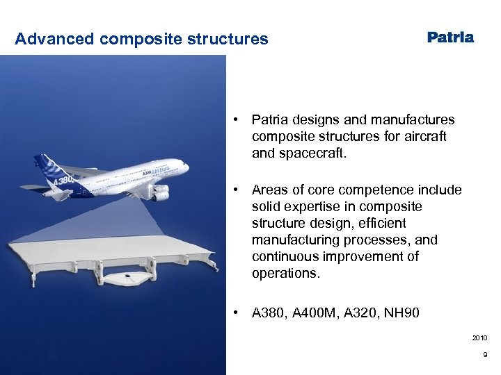 Advanced composite structures • Patria designs and manufactures composite structures for aircraft and spacecraft.