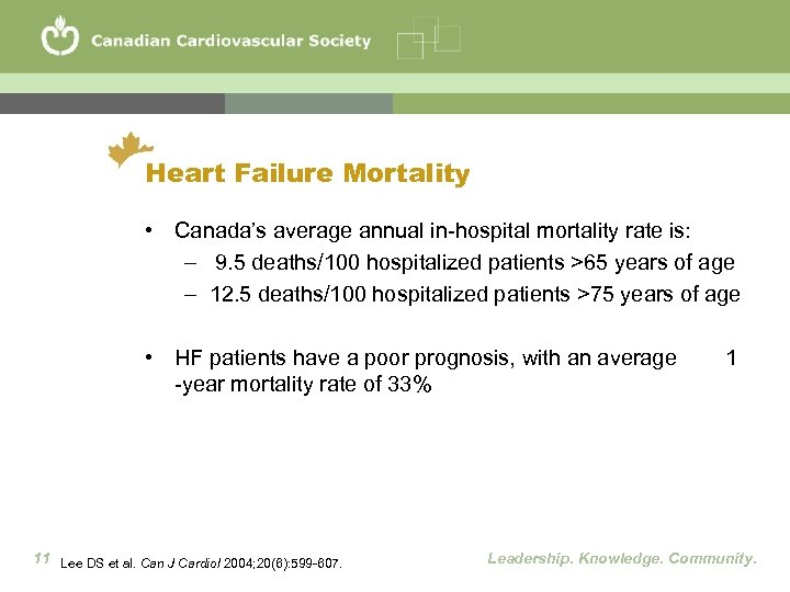 Heart Failure Mortality • Canada's average annual in-hospital mortality rate is: – 9. 5