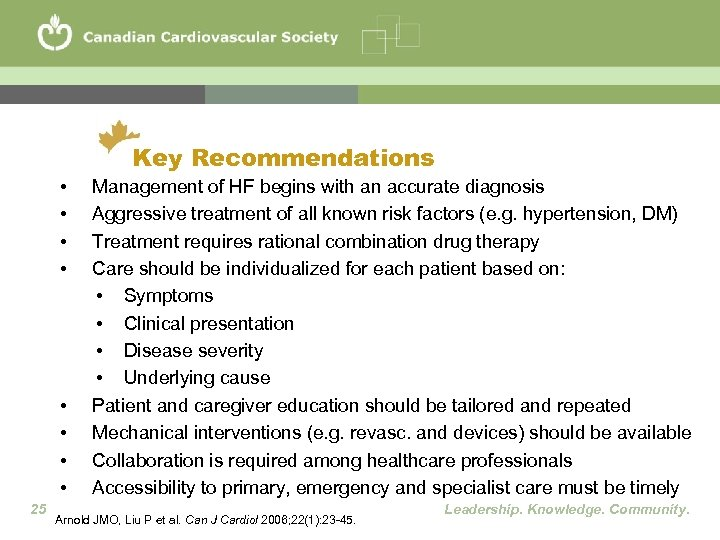 Key Recommendations • • 25 Management of HF begins with an accurate diagnosis Aggressive