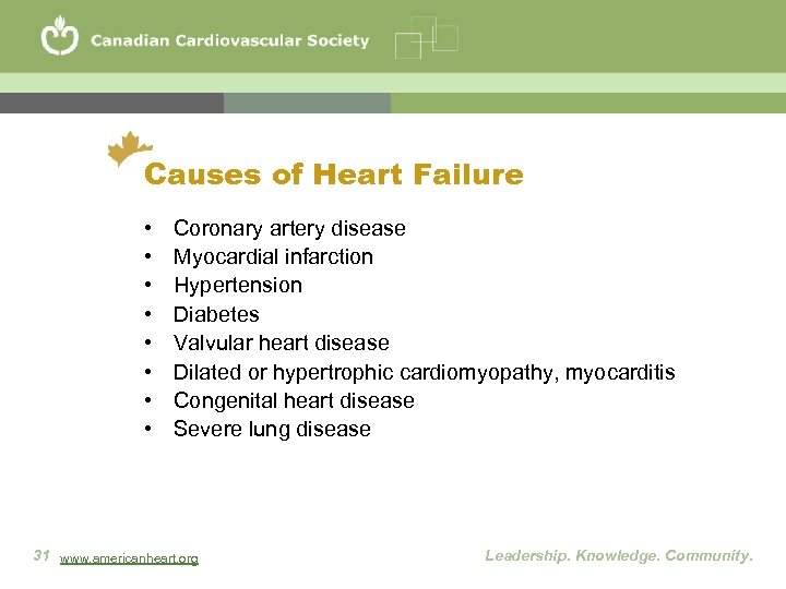Causes of Heart Failure • • Coronary artery disease Myocardial infarction Hypertension Diabetes Valvular