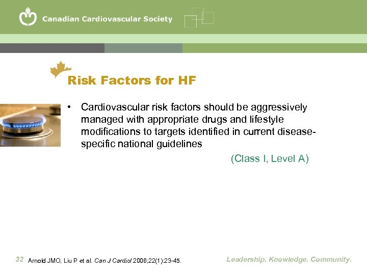 Risk Factors for HF • Cardiovascular risk factors should be aggressively managed with appropriate