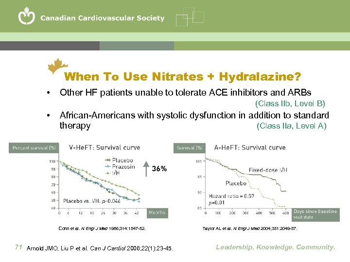 When To Use Nitrates + Hydralazine? • Other HF patients unable to tolerate ACE