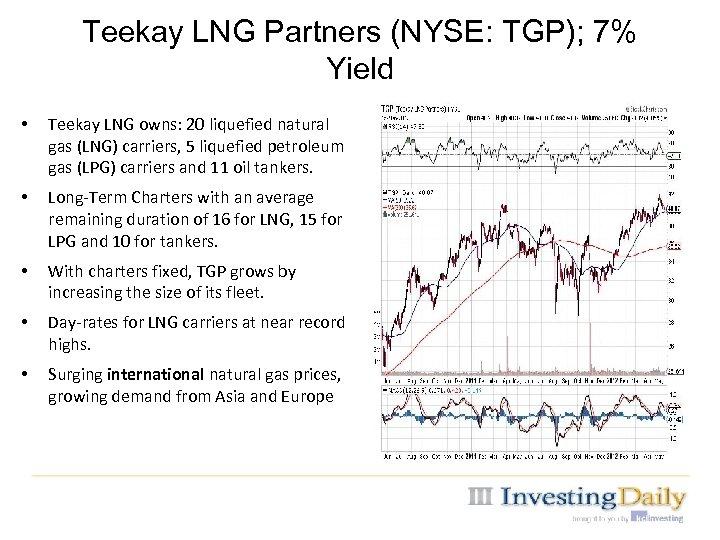 Teekay LNG Partners (NYSE: TGP); 7% Yield • Teekay LNG owns: 20 liquefied natural