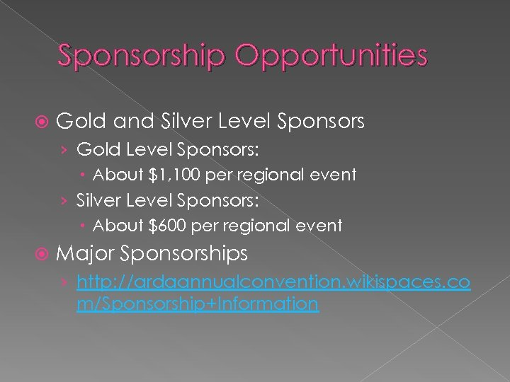 Sponsorship Opportunities Gold and Silver Level Sponsors › Gold Level Sponsors: About $1, 100