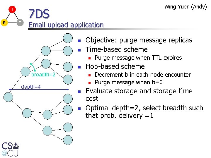 Wing Yuen (Andy) 7 DS Email upload application n n Objective: purge message replicas