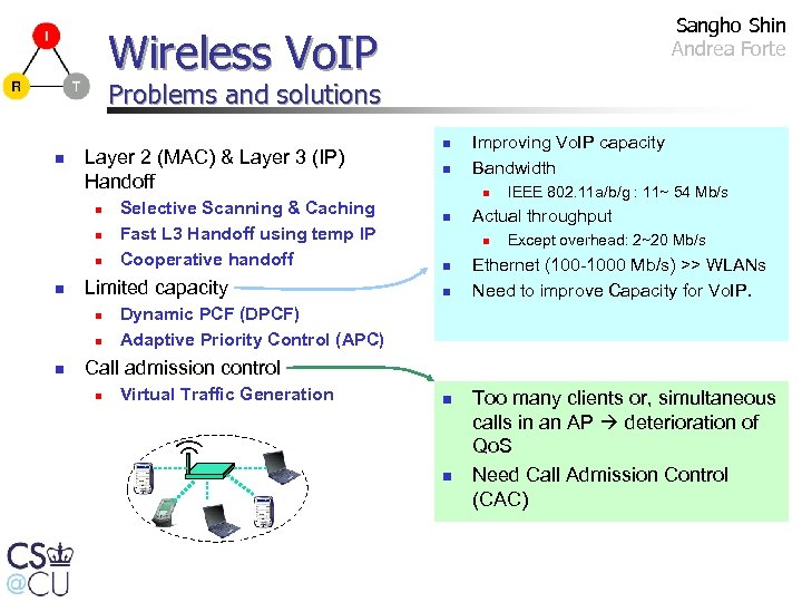 Sangho Shin Andrea Forte Wireless Vo. IP Problems and solutions n Layer 2 (MAC)