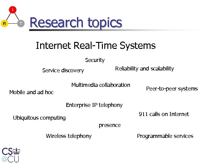 Research topics Internet Real-Time Systems Security Service discovery Reliability and scalability Multimedia collaboration Mobile
