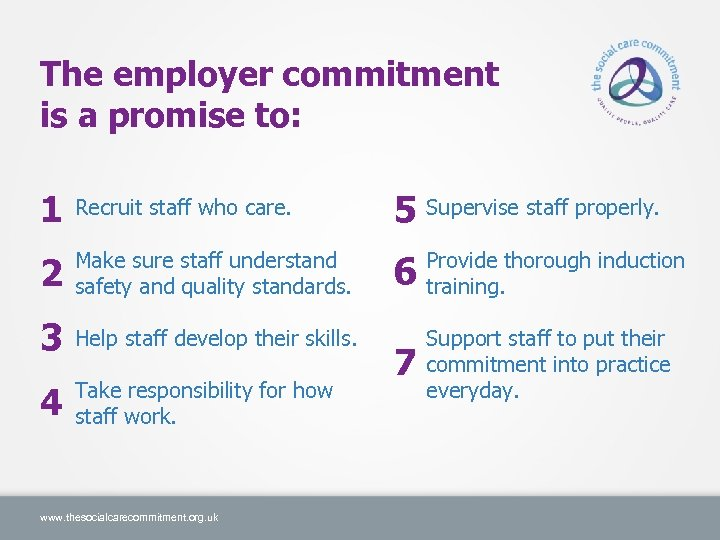 The employer commitment is a promise to: 1 Recruit staff who care. 2 Make
