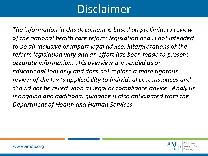 Disclaimer The information in this document is based on preliminary review of the national