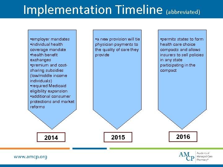 Implementation Timeline (abbreviated) • employer mandates • individual health coverage mandate • health benefit