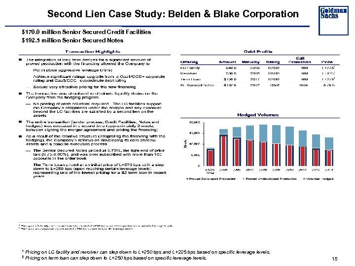 Second Lien Case Study: Belden & Blake Corporation $170. 0 million Senior Secured Credit
