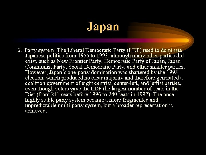 Japan 6. Party system: The Liberal Democratic Party (LDP) used to dominate Japanese politics