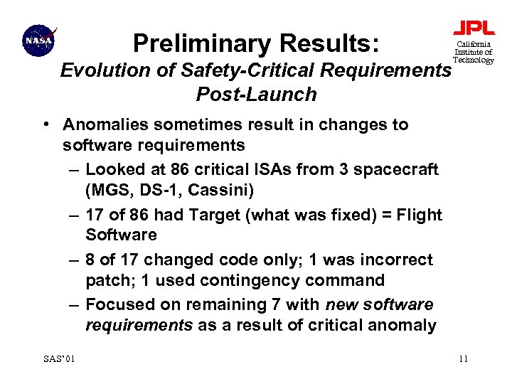 Preliminary Results: Evolution of Safety-Critical Requirements Post-Launch California Institute of Technology • Anomalies sometimes