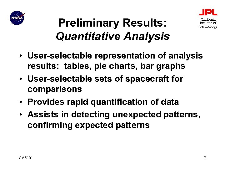 Preliminary Results: Quantitative Analysis California Institute of Technology • User-selectable representation of analysis results:
