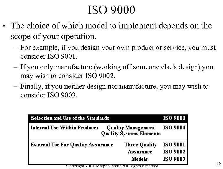 ISO 9000 • The choice of which model to implement depends on the scope
