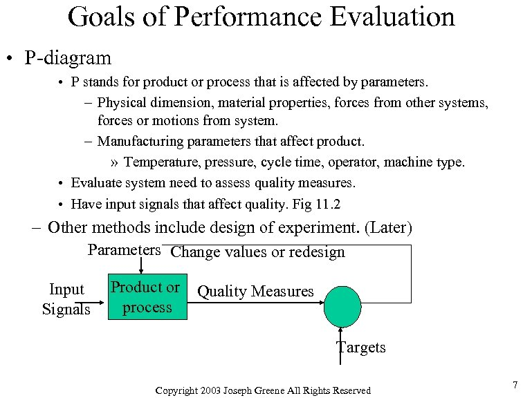 Goals of Performance Evaluation • P-diagram • P stands for product or process that