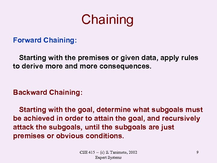 Chaining Forward Chaining: Starting with the premises or given data, apply rules to derive