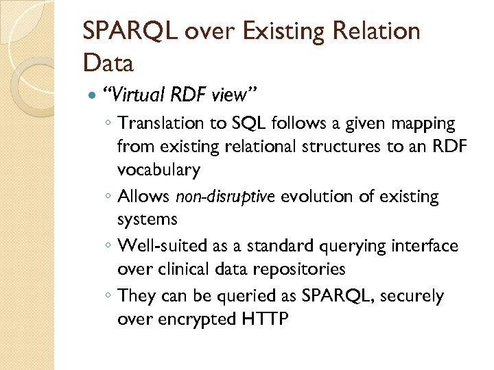 "SPARQL over Existing Relation Data ""Virtual RDF view"" ◦ Translation to SQL follows a"