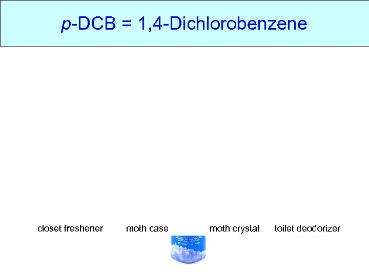 p-DCB = 1, 4 -Dichlorobenzene • Molecular structure of p. DCB • Where does