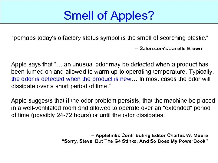 Smell of apples? Smell of Apples?