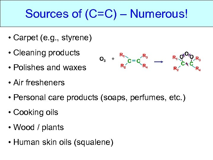 Sources of (C=C) – Numerous! • Carpet (e. g. , styrene) • Cleaning products