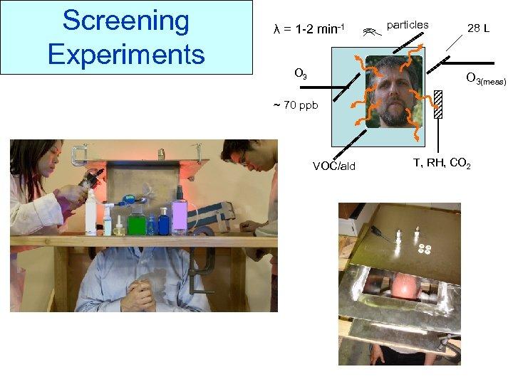 Screening Experiments λ = 1 -2 min-1 particles 28 L Screening Experiments O 3(meas)
