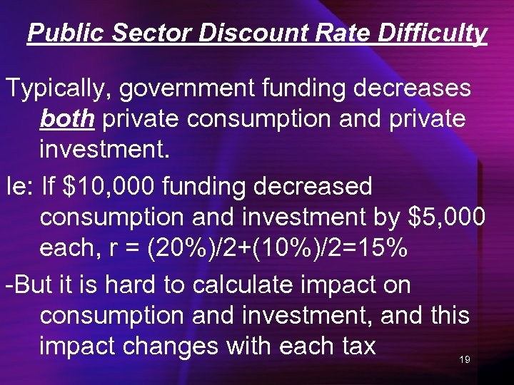 Public Sector Discount Rate Difficulty Typically, government funding decreases both private consumption and private
