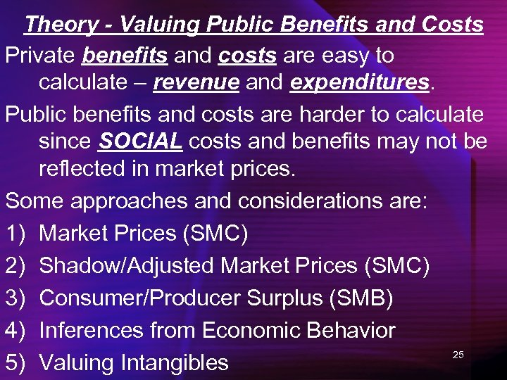 Theory - Valuing Public Benefits and Costs Private benefits and costs are easy to