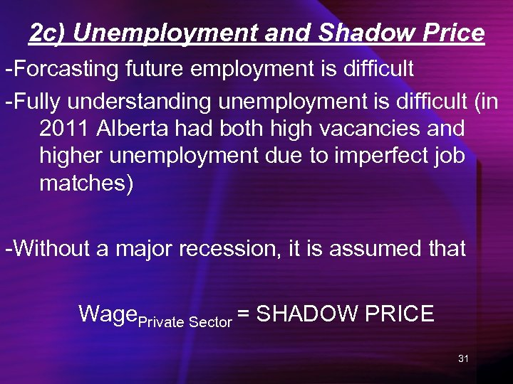 2 c) Unemployment and Shadow Price -Forcasting future employment is difficult -Fully understanding unemployment