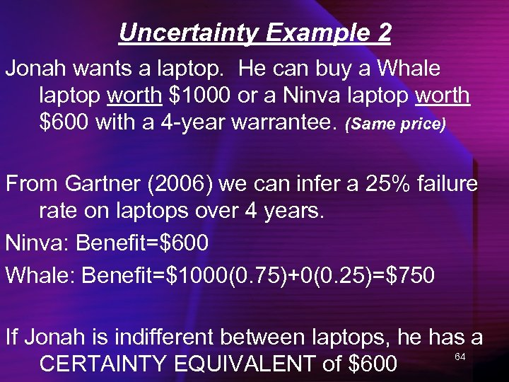 Uncertainty Example 2 Jonah wants a laptop. He can buy a Whale laptop worth