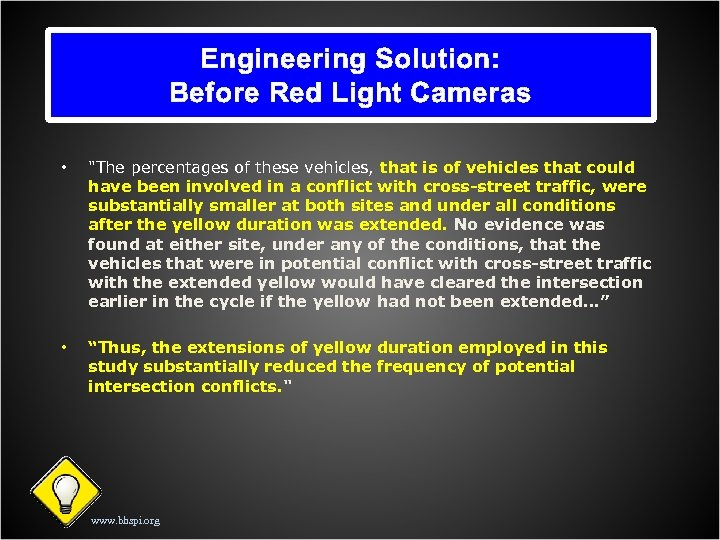 Engineering Solution: Before Red Light Cameras •