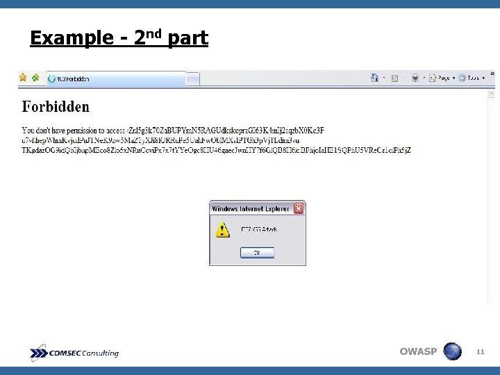 Example - 2 nd part OWASP 11