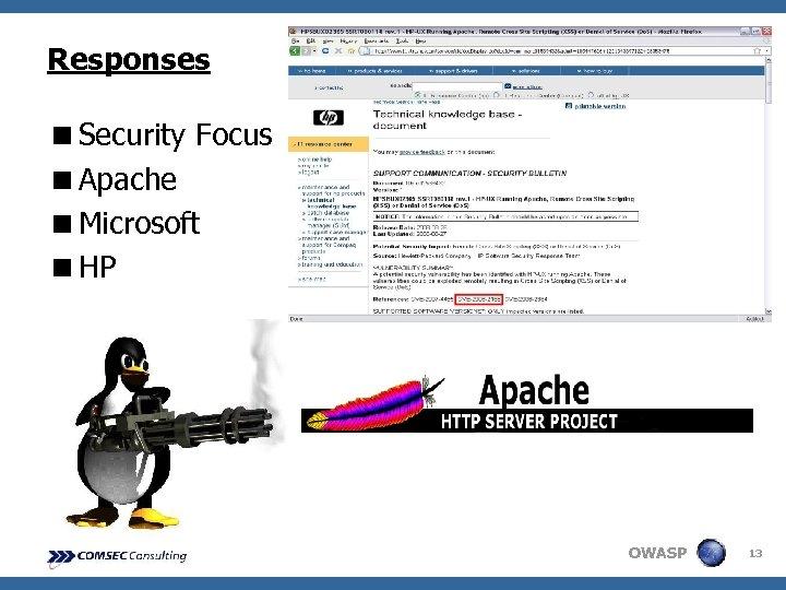 Responses <Security Focus <Apache <Microsoft <HP OWASP 13