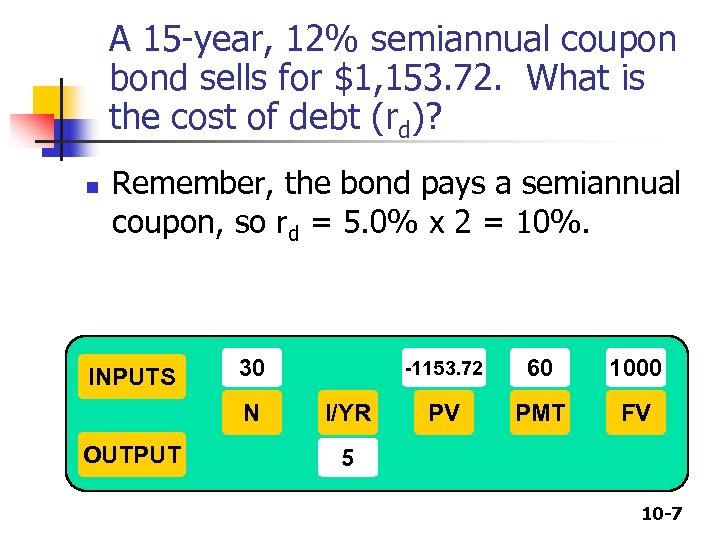 A 15 -year, 12% semiannual coupon bond sells for $1, 153. 72. What is