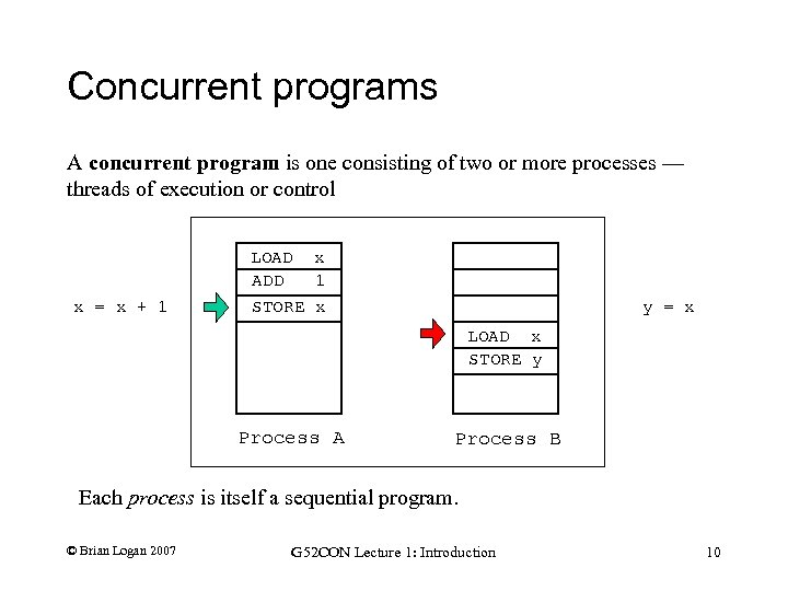 Concurrent programs A concurrent program is one consisting of two or more processes —