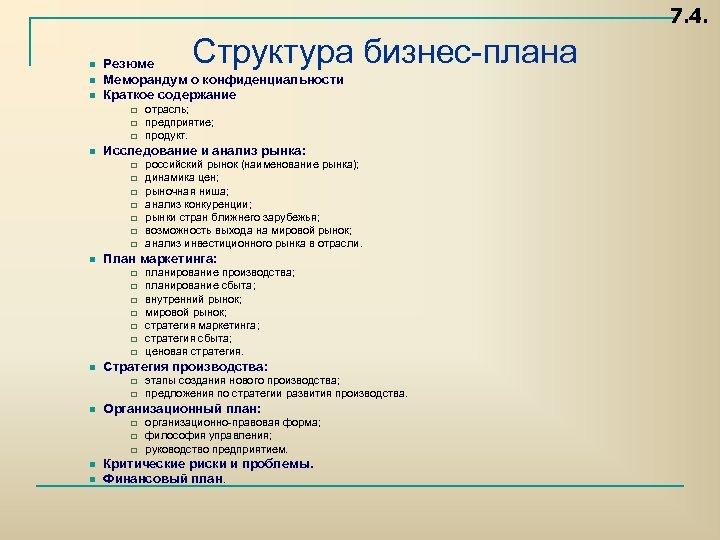 7. 4. n n n Структура бизнес плана Резюме Меморандум о конфиденциальности Краткое содержание