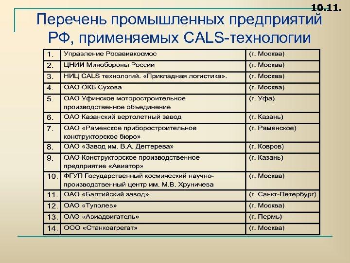 10. 11. Перечень промышленных предприятий РФ, применяемых CALS технологии