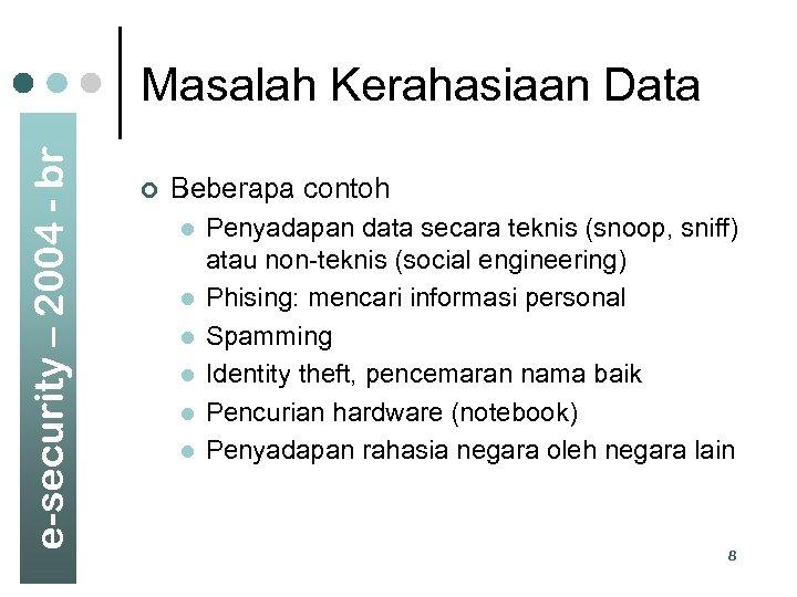 e-security – 2004 - br Masalah Kerahasiaan Data ¢ Beberapa contoh l l l