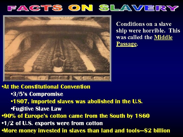 Conditions on a slave ship were horrible. This was called the Middle Passage. •