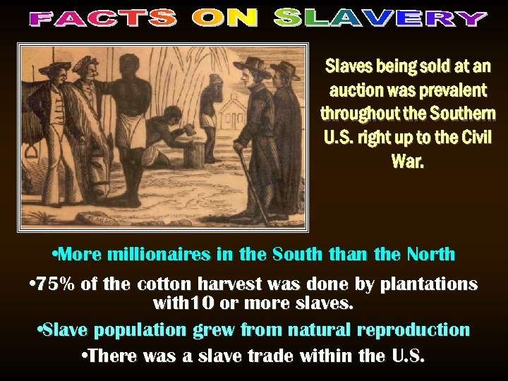 Slaves being sold at an auction was prevalent throughout the Southern U. S. right